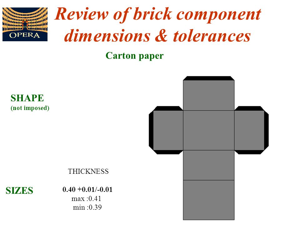 7 Review of brick component dimensions & tolerances Carton paper THICKNESS 0.40 +0.01/-0.01 max :0.41 min :0.39 SHAPE (not imposed) SIZES
