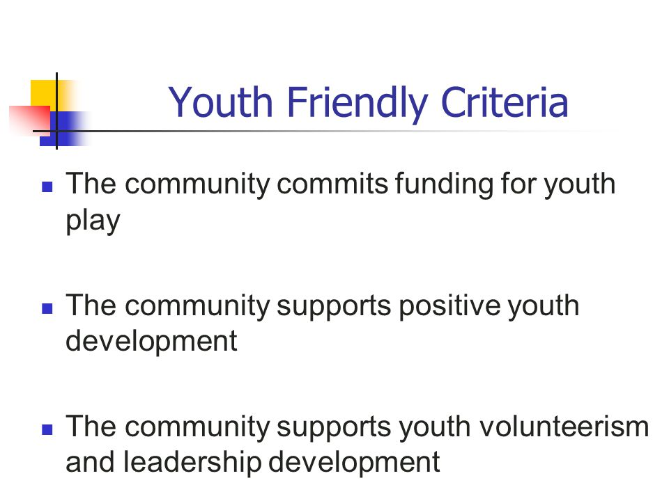 Youth Friendly Criteria The community commits funding for youth play The community supports positive youth development The community supports youth vo