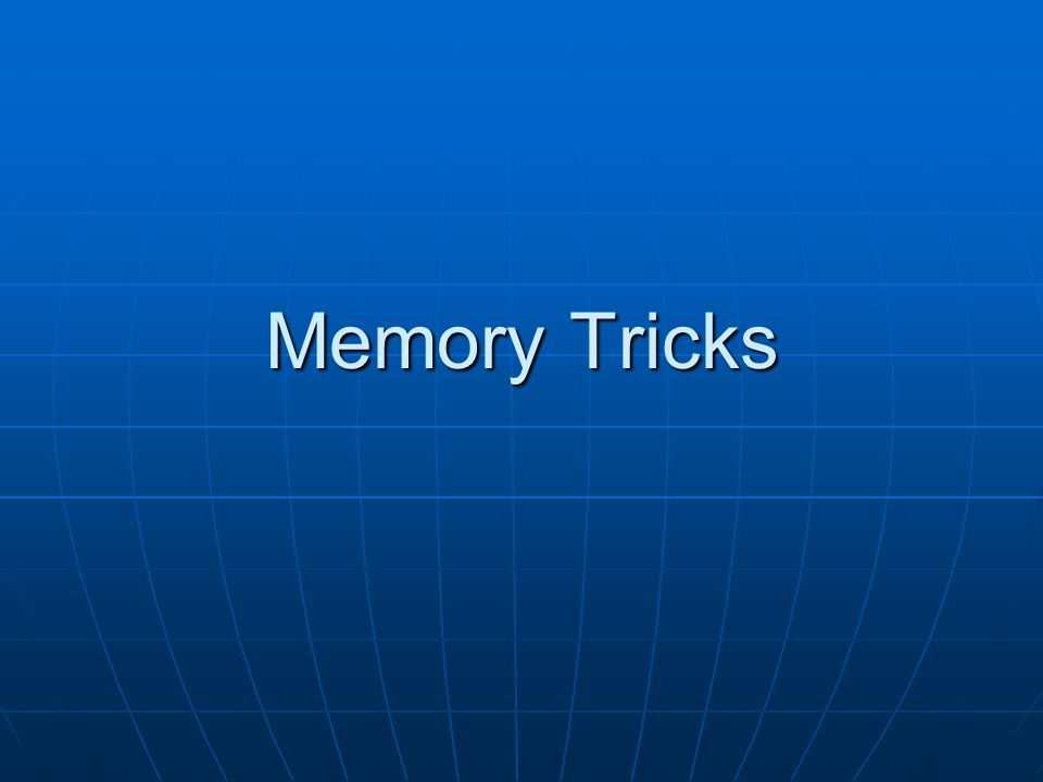 Mnemonics General term for memory tool General term for memory tool Includes Includes The Link Method and Story Method – Remembering a Simple ListThe Link Method and Story Method – Remembering a Simple ListThe Link Method and Story MethodThe Link Method and Story Method The Number/Rhyme Mnemonic – Remembering Ordered ListsThe Number/Rhyme Mnemonic – Remembering Ordered ListsThe Number/Rhyme MnemonicThe Number/Rhyme Mnemonic The Number/Shape Mnemonic – Remembering Ordered ListsThe Number/Shape Mnemonic – Remembering Ordered ListsThe Number/Shape MnemonicThe Number/Shape Mnemonic The Alphabet Technique – Remembering Middle Length ListsThe Alphabet Technique – Remembering Middle Length ListsThe Alphabet TechniqueThe Alphabet Technique The Journey System – Remembering Long ListsThe Journey System – Remembering Long ListsThe Journey SystemThe Journey System The Roman Room System – Remembering Grouped InformationThe Roman Room System – Remembering Grouped InformationThe Roman Room SystemThe Roman Room System The Major System – Remembering Very Long NumbersThe Major System – Remembering Very Long NumbersThe Major SystemThe Major System From http://www.mindtools.com/memory.html http://www.mindtools.com/memory.html