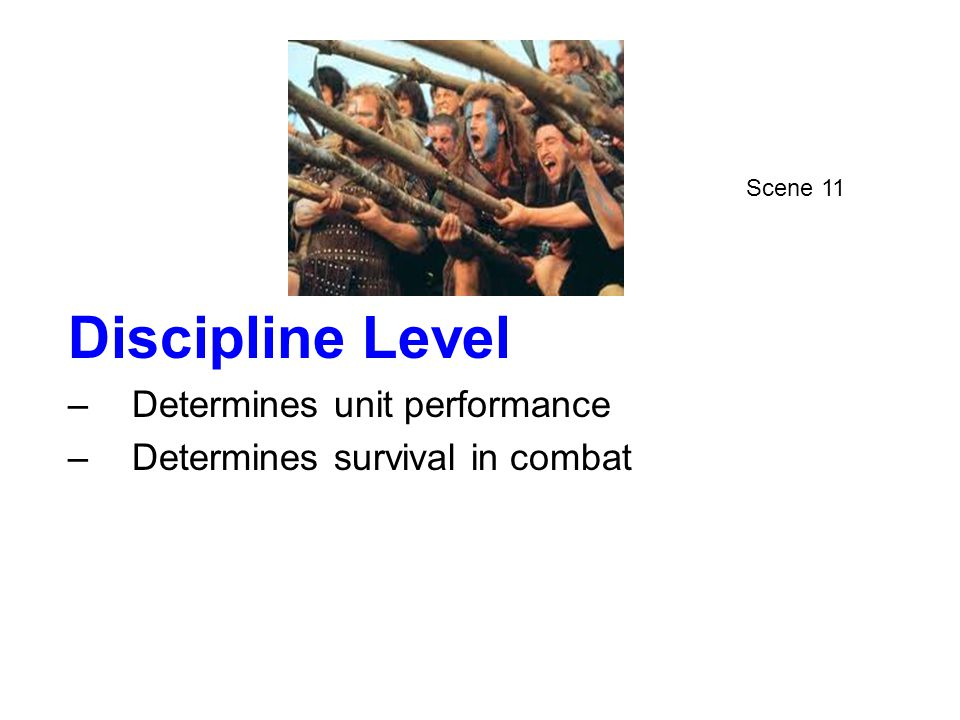 Discipline Level –Determines unit performance –Determines survival in combat Scene 11