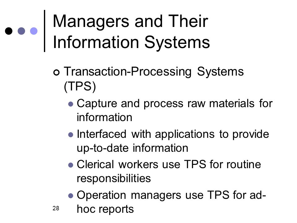 28 Managers and Their Information Systems Transaction-Processing Systems (TPS) Capture and process raw materials for information Interfaced with appli