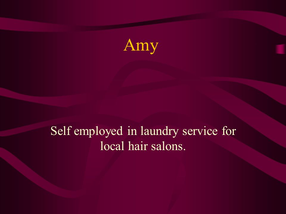 Amy Self employed in laundry service for local hair salons.