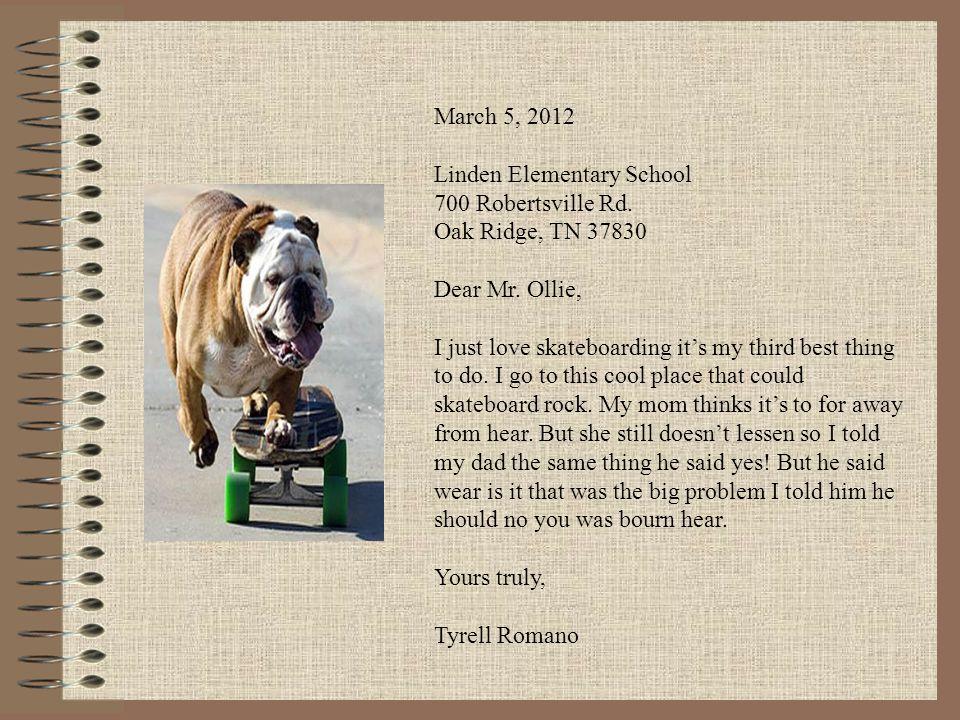 March 5, 2012 Linden Elementary School 700 Robertsville Rd.