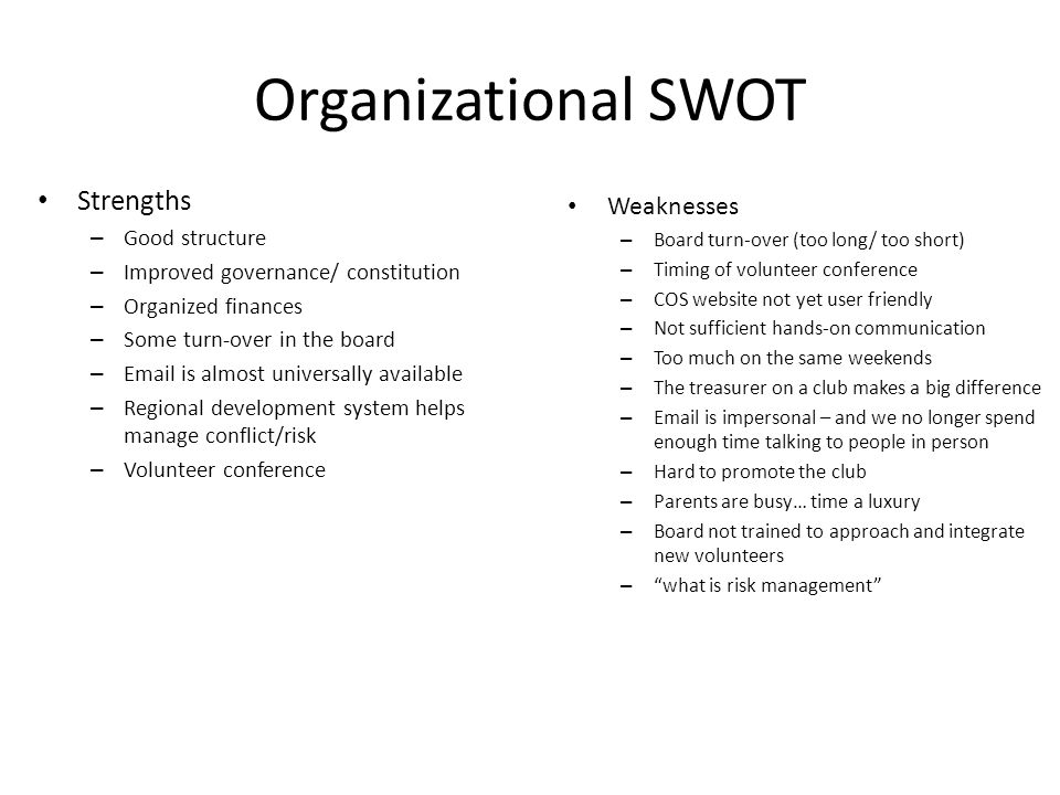 Organizational SWOT Strengths – Good structure – Improved governance/ constitution – Organized finances – Some turn-over in the board – Email is almos