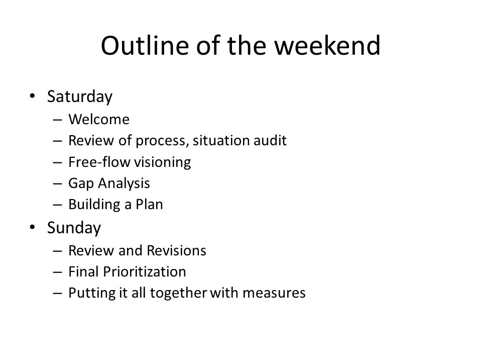 Outline of the weekend Saturday – Welcome – Review of process, situation audit – Free-flow visioning – Gap Analysis – Building a Plan Sunday – Review