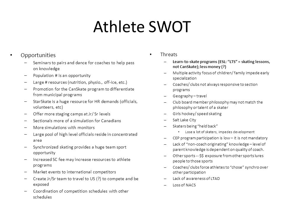 Athlete SWOT Opportunities – Seminars to pairs and dance for coaches to help pass on knowledge – Population # is an opportunity – Large # resources (n