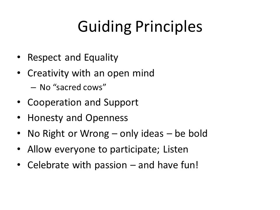 "Guiding Principles Respect and Equality Creativity with an open mind – No ""sacred cows"" Cooperation and Support Honesty and Openness No Right or Wrong"