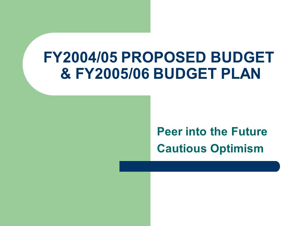 FY2004/05 PROPOSED BUDGET & FY2005/06 BUDGET PLAN Peer into the Future Cautious Optimism