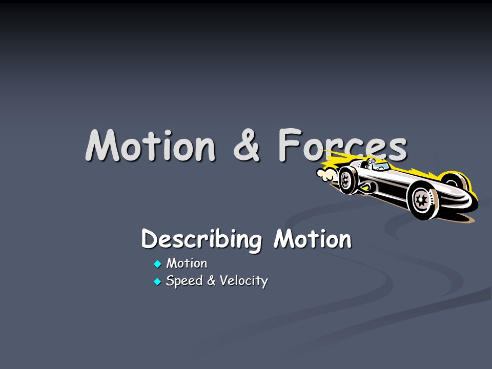 Motion & Forces Describing Motion  Motion  Speed & Velocity