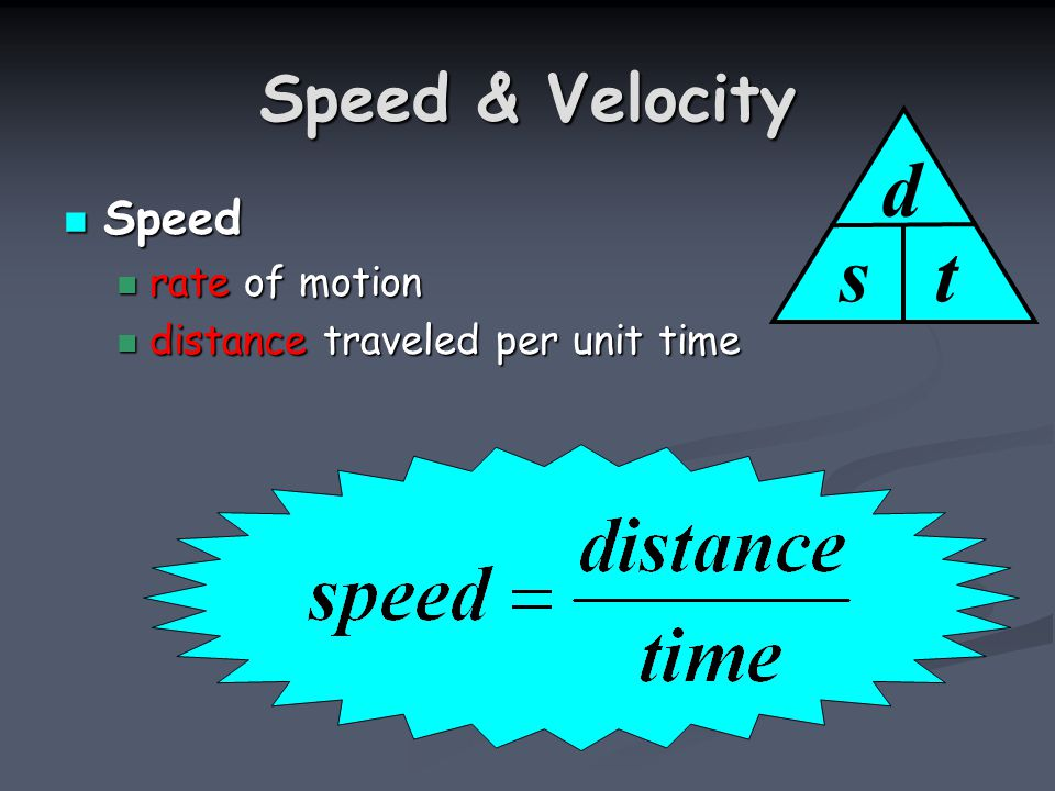 Speed & Velocity Speed Speed rate of motion rate of motion distance traveled per unit time distance traveled per unit time s d t