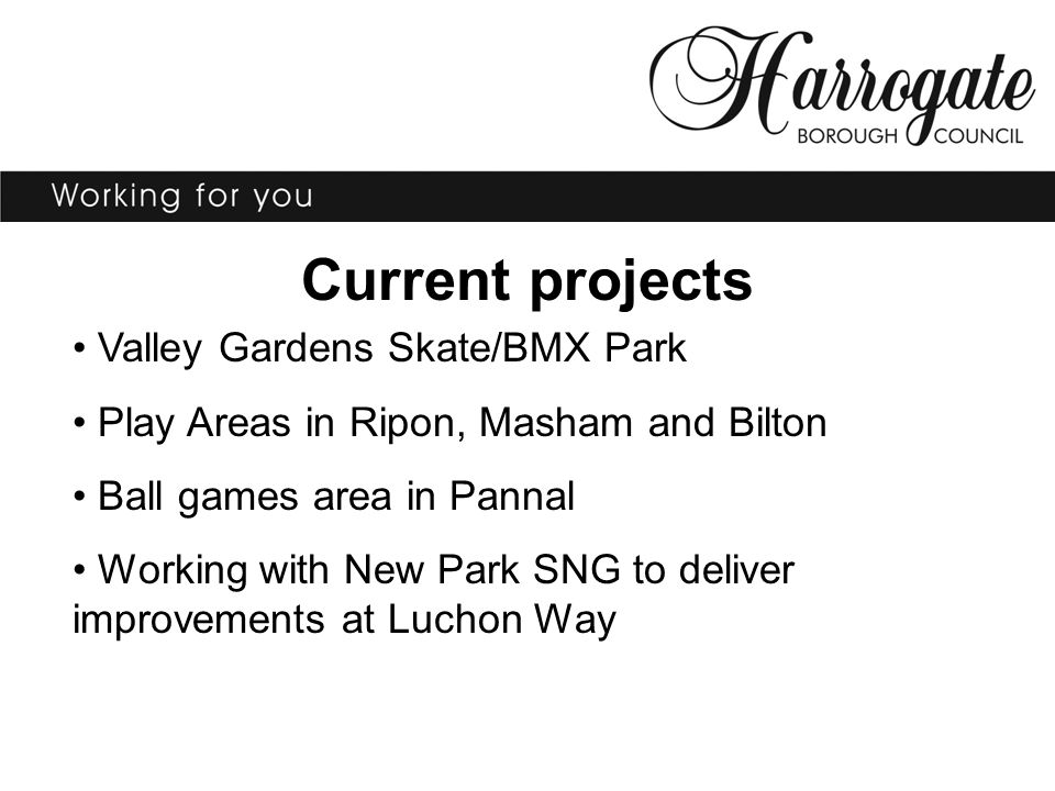 Current projects Valley Gardens Skate/BMX Park Play Areas in Ripon, Masham and Bilton Ball games area in Pannal Working with New Park SNG to deliver i