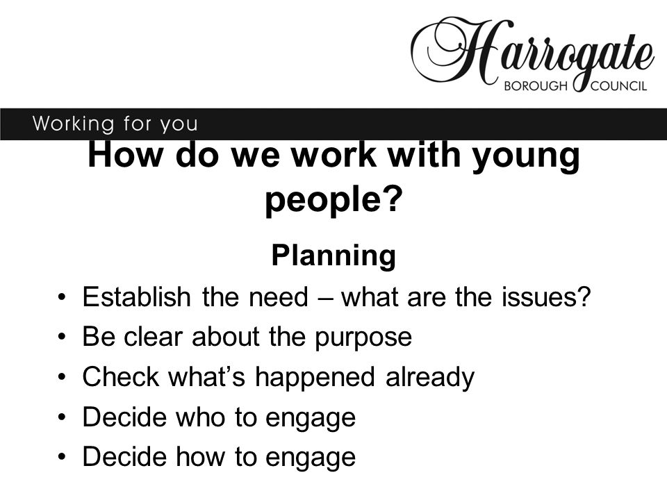How do we work with young people? Planning Establish the need – what are the issues? Be clear about the purpose Check what's happened already Decide w