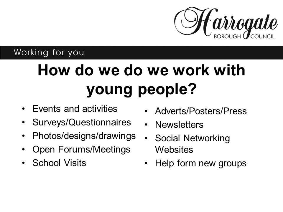 How do we do we work with young people? Events and activities Surveys/Questionnaires Photos/designs/drawings Open Forums/Meetings School Visits Advert