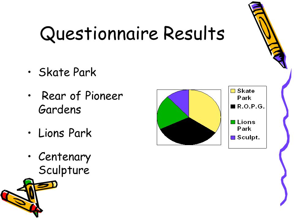 Questionnaire Results Skate Park Rear of Pioneer Gardens Lions Park Centenary Sculpture