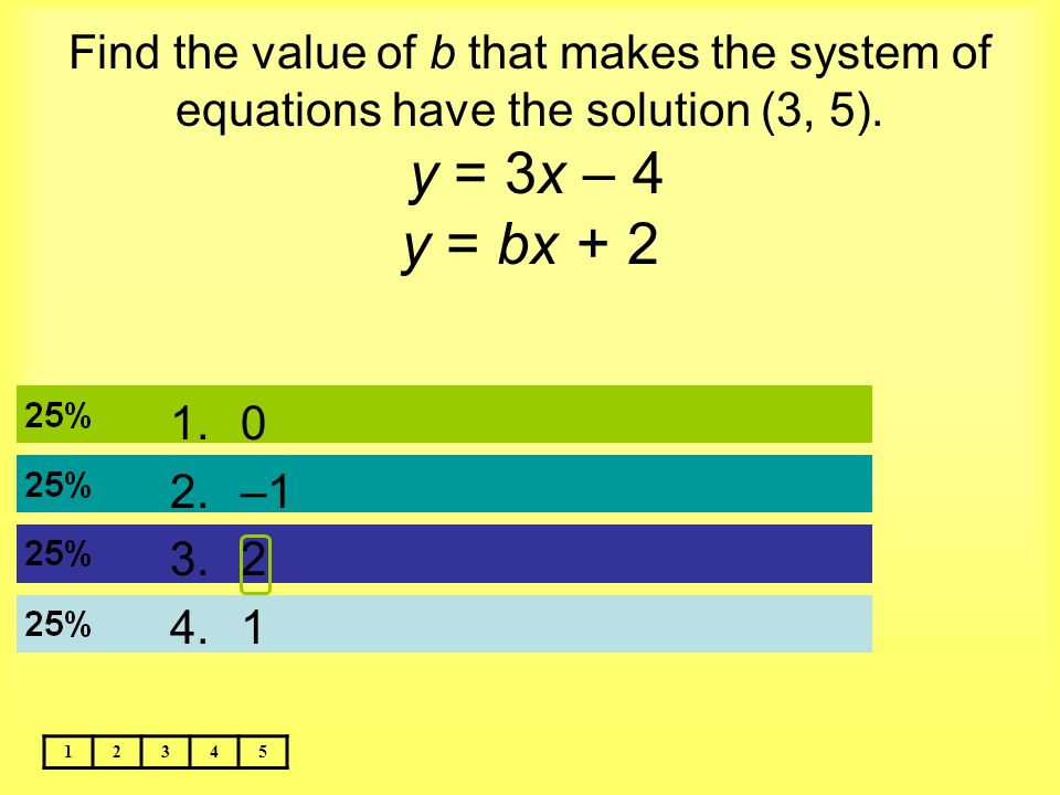 Find the value of b that makes the system of equations have the solution (3, 5). y = 3x – 4 y = bx + 2 12345 1.0 2.–1 3.2 4.1