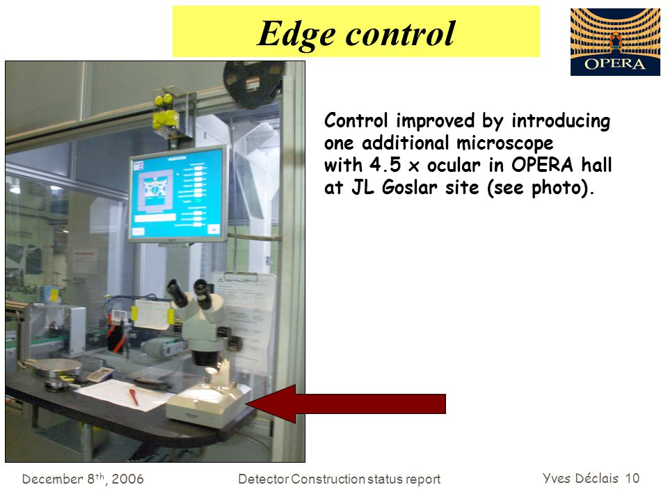 December 8 th, 2006Detector Construction status report Yves Déclais 10 Edge control Control improved by introducing one additional microscope with 4.5 x ocular in OPERA hall at JL Goslar site (see photo).