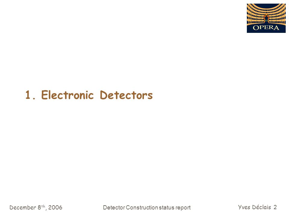 December 8 th, 2006Detector Construction status report Yves Déclais 43 2007 Draft SPS schedule SPS physics run: Start: 26/5/2007 End: 7/11/2007 141 days after having excluded the MDs ( 200 days expected ) proton intensity on target canonical 4.5 10 19 pot today performance 2.3 10 19 pot SPSC outcome (november 06): completion of the CNGS commissioning at the beginning of the physics run no high intensity beam for the CNGS until OPERA has reached 75% of the target mass