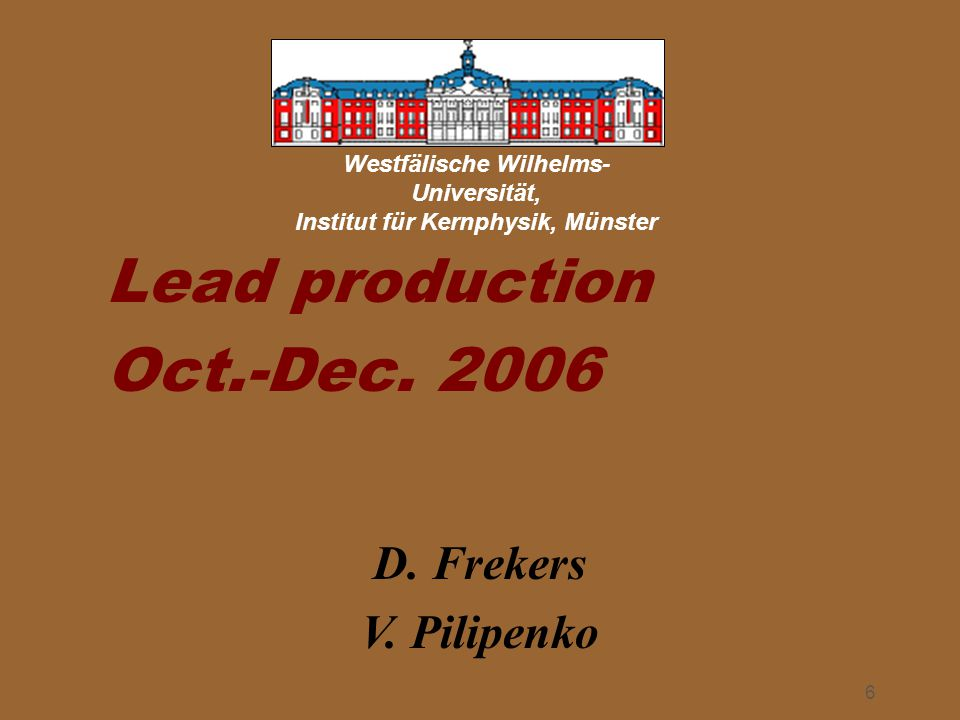December 8 th, 2006Detector Construction status report Yves Déclais 7  -activity measured October 2006 2.Edge control 3.Thickness control 4.Status of lead production in October 2006 General situation: We are getting into a much more stable production.