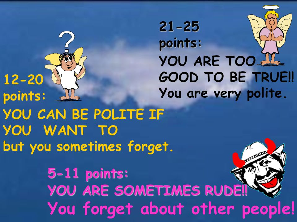 YOU CAN BE POLITE IF YOU WANT TO but you sometimes forget. 12-20 points: 5-11 points: YOU ARE SOMETIMES RUDE!! You forget about other people! 21-25poi