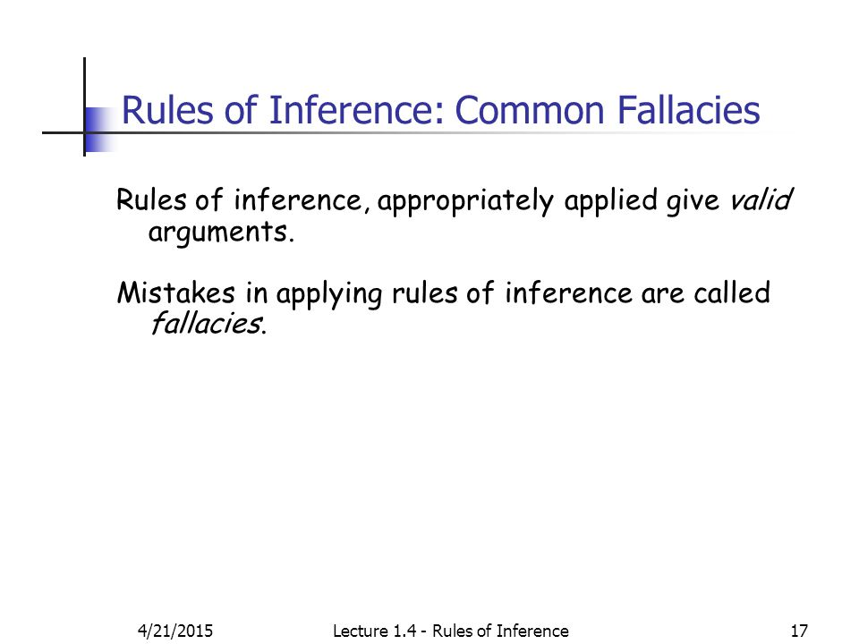 4/21/2015Lecture 1.4 - Rules of Inference17 Rules of Inference: Common Fallacies Rules of inference, appropriately applied give valid arguments.