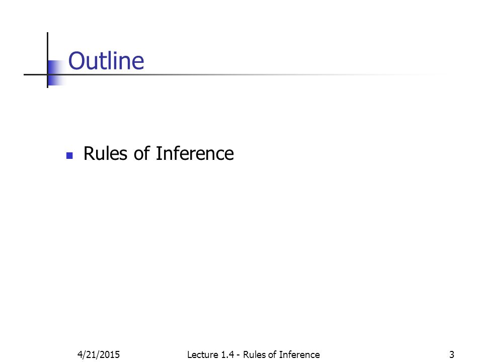 4/21/2015Lecture 1.4 - Rules of Inference3 Outline Rules of Inference