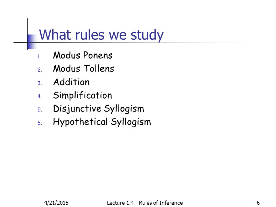 What rules we study 1. Modus Ponens 2. Modus Tollens 3.