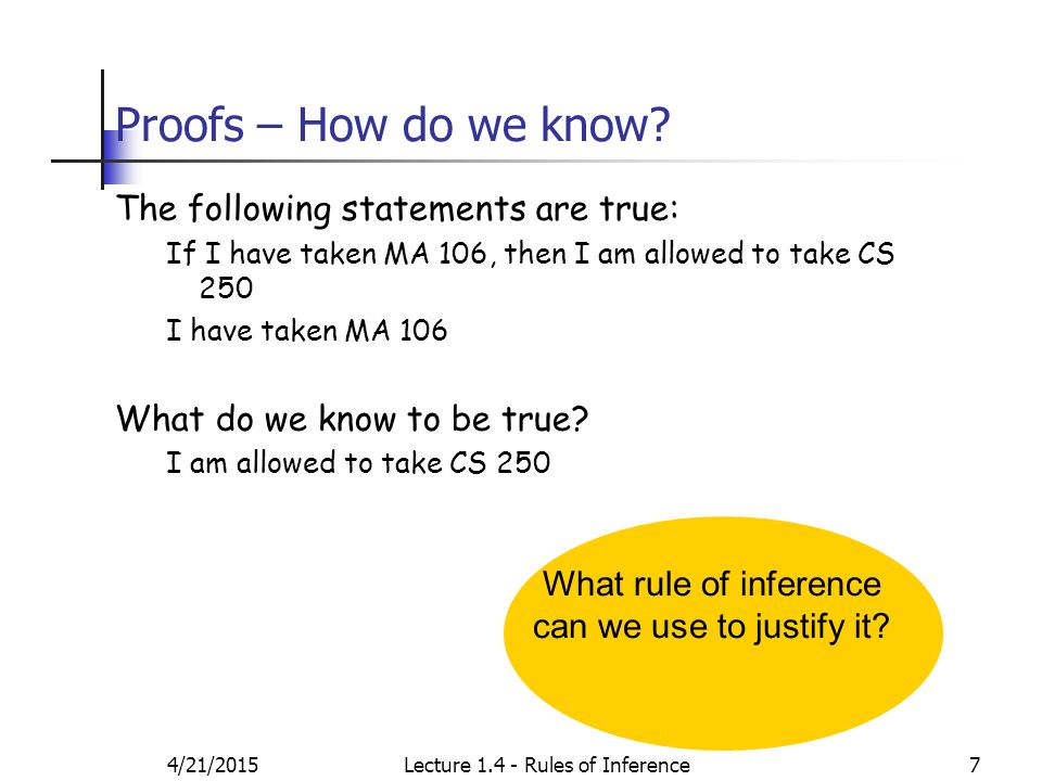 4/21/2015Lecture 1.4 - Rules of Inference7 Proofs – How do we know.