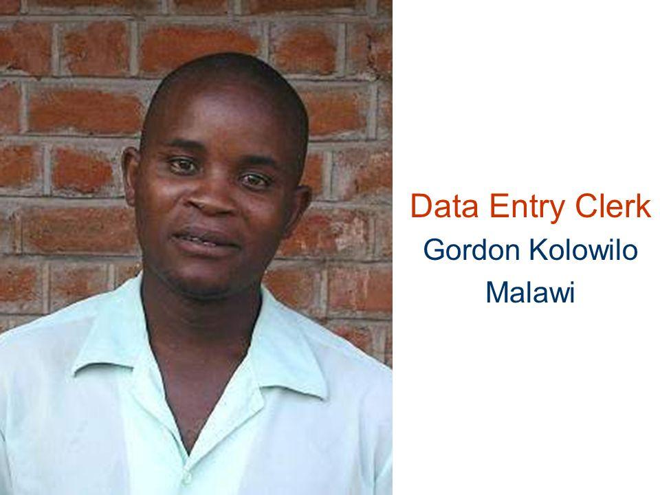 Data Entry Clerk Gordon Kolowilo Malawi