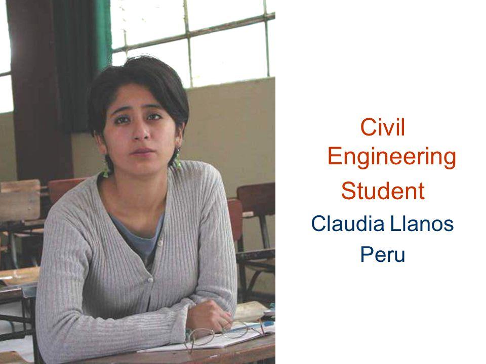 Civil Engineering Student Claudia Llanos Peru