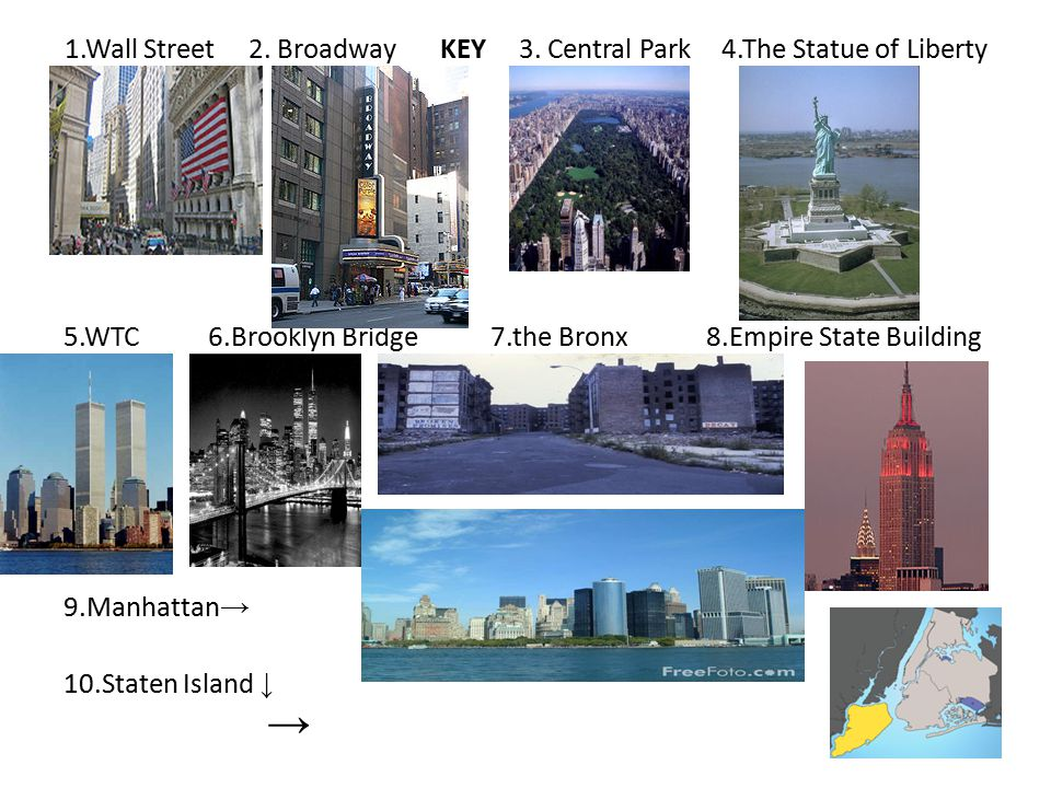 Choose the correct information to the pictures 1.This part is a heart of N.Y.city.