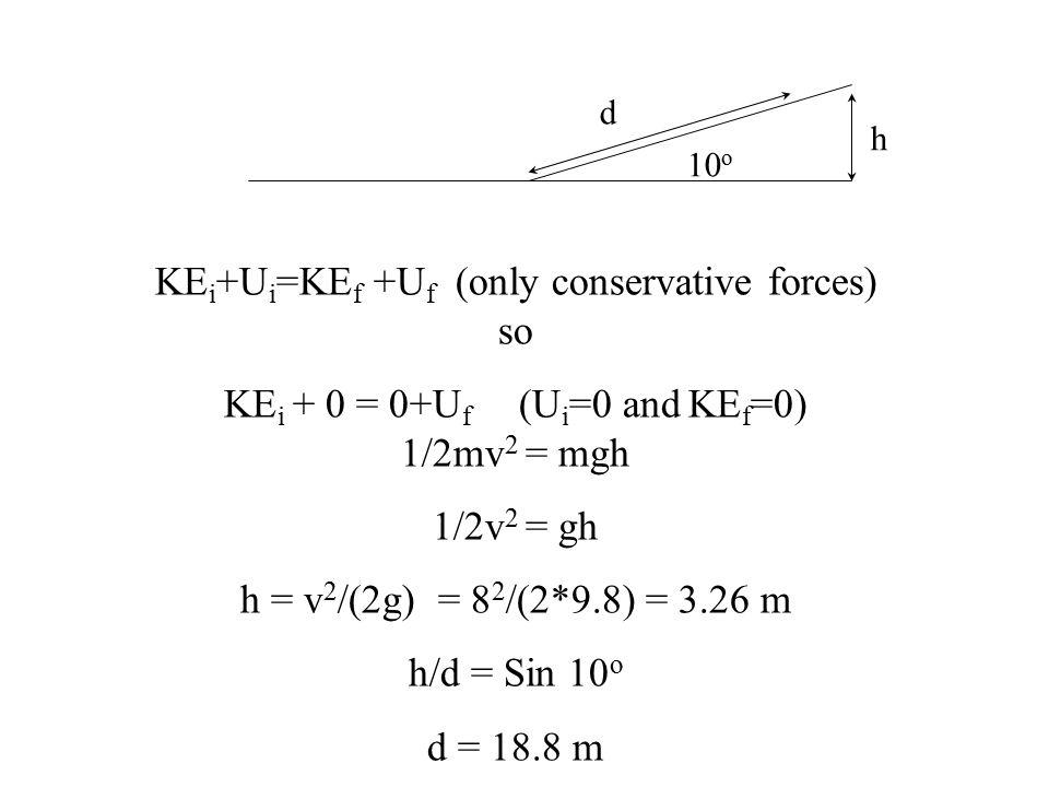 10 o h d KE i +U i =KE f +U f (only conservative forces) so KE i + 0 = 0+U f (U i =0 and KE f =0) 1/2mv 2 = mgh 1/2v 2 = gh h = v 2 /(2g) = 8 2 /(2*9.8) = 3.26 m h/d = Sin 10 o d = 18.8 m
