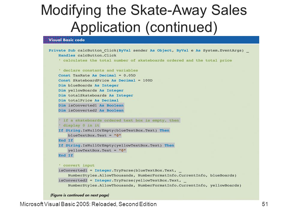 Microsoft Visual Basic 2005: Reloaded, Second Edition51 Modifying the Skate-Away Sales Application (continued)