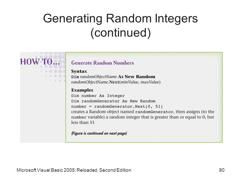 Microsoft Visual Basic 2005: Reloaded, Second Edition80 Generating Random Integers (continued)