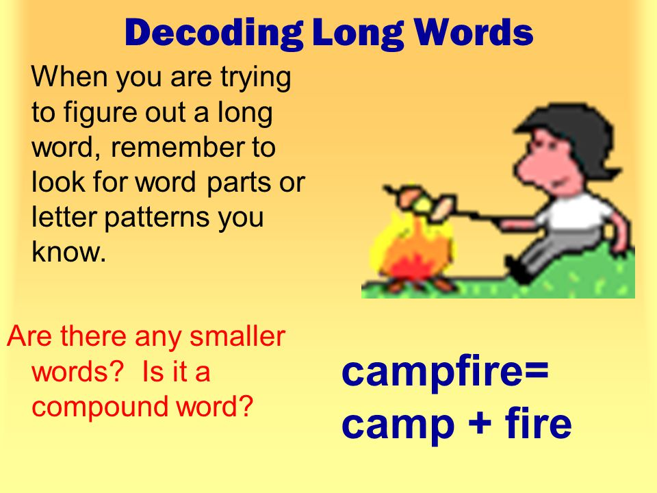 Decoding Long Words When you are trying to figure out a long word, remember to look for word parts or letter patterns you know.
