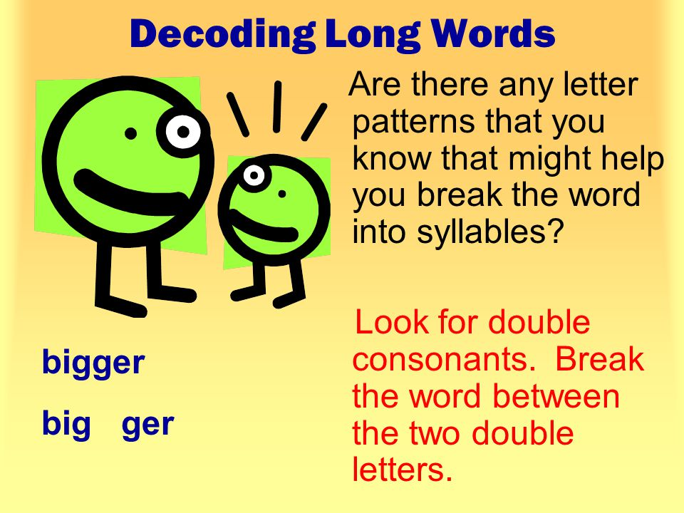 Decoding Long Words Are there any letter patterns that you know that might help you break the word into syllables.