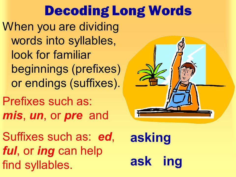 Decoding Long Words When you see more then two consonants together in a word, try dividing the word after the first consonant.