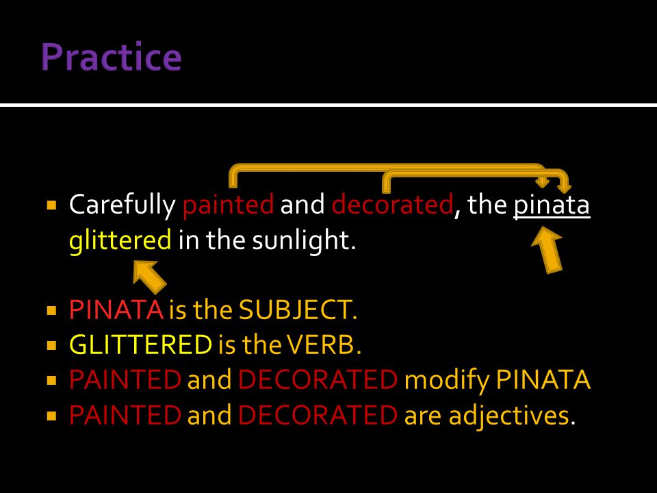  Carefully painted and decorated, the pinata glittered in the sunlight.  PINATA is the SUBJECT.  GLITTERED is the VERB.  PAINTED and DECORATED mod