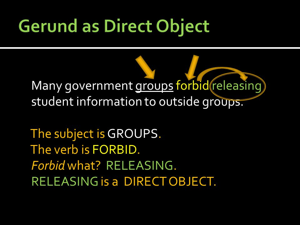 Many government groups forbid releasing student information to outside groups. The subject is GROUPS. The verb is FORBID. Forbid what? RELEASING. RELE