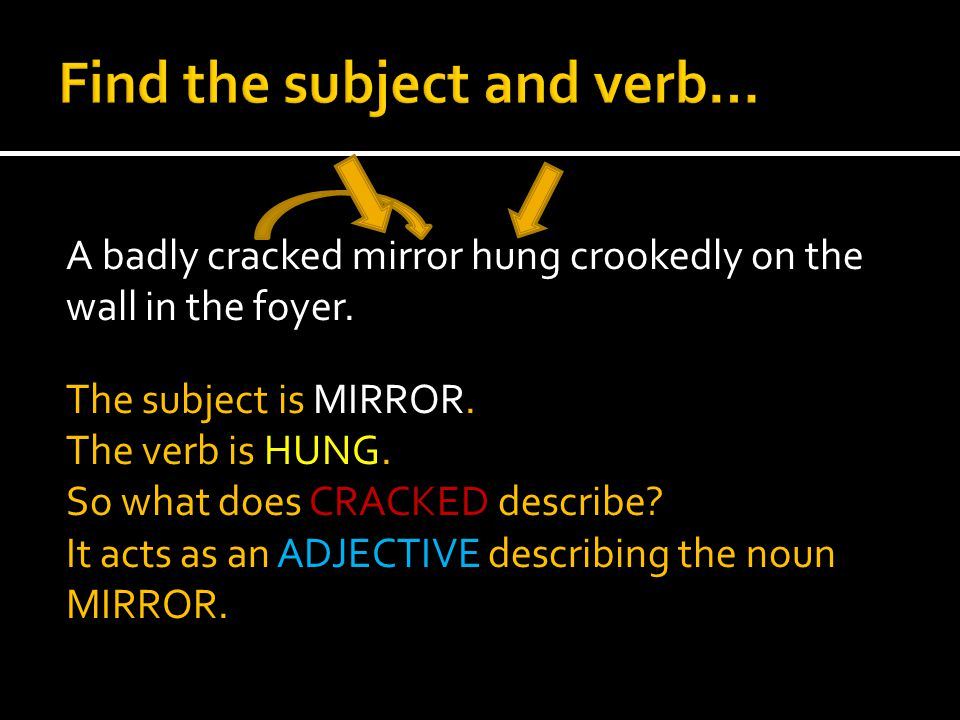 A badly cracked mirror hung crookedly on the wall in the foyer. The subject is MIRROR. The verb is HUNG. So what does CRACKED describe? It acts as an