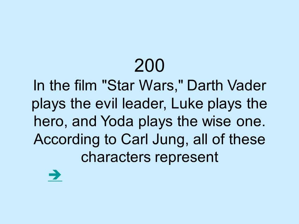 200 In the film Star Wars, Darth Vader plays the evil leader, Luke plays the hero, and Yoda plays the wise one.