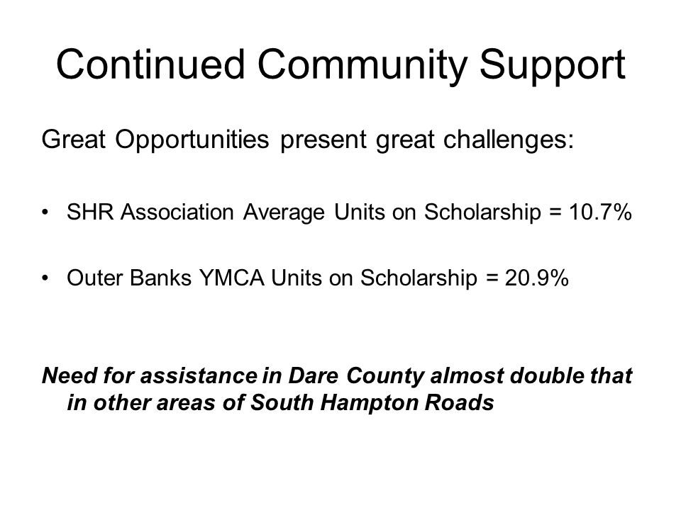 Continued Community Support Great Opportunities present great challenges: SHR Association Average Units on Scholarship = 10.7% Outer Banks YMCA Units