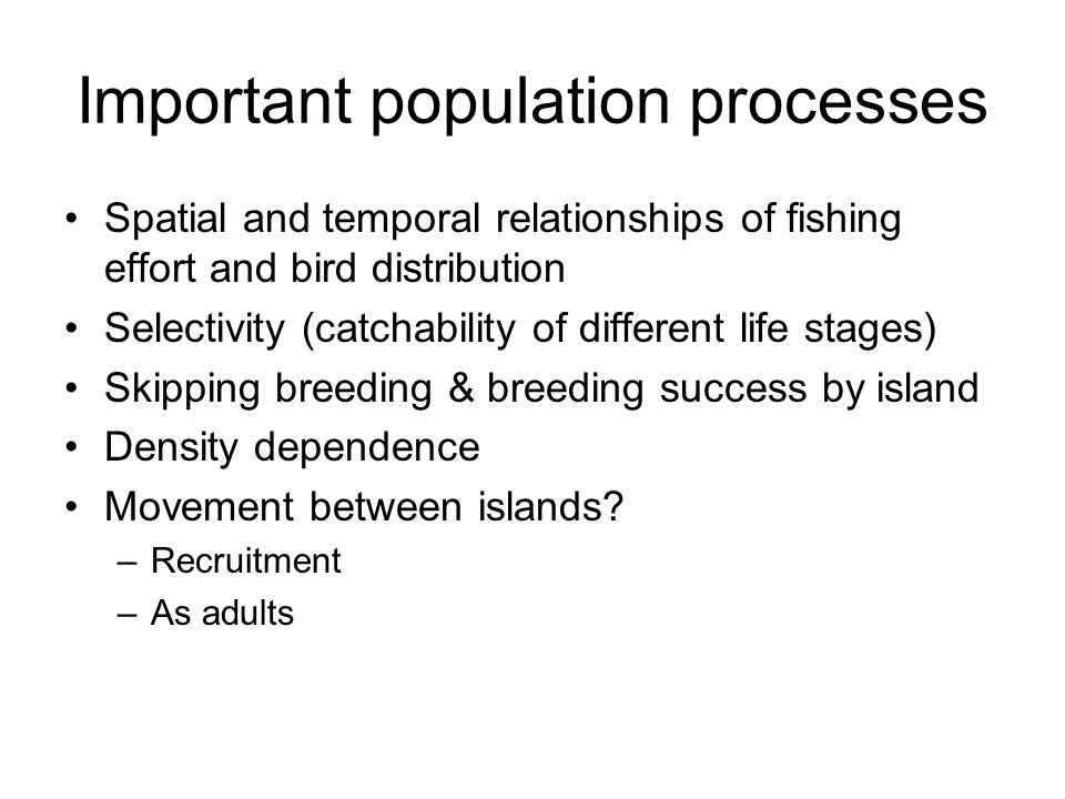 Important population processes Spatial and temporal relationships of fishing effort and bird distribution Selectivity (catchability of different life stages) Skipping breeding & breeding success by island Density dependence Movement between islands.