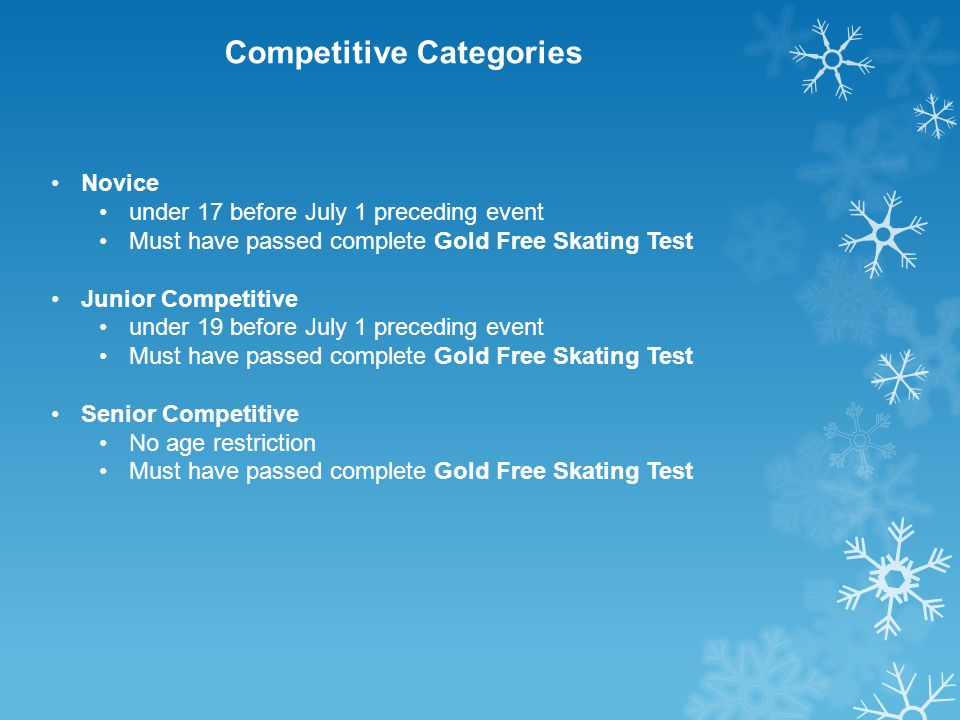 Competitive Categories Novice under 17 before July 1 preceding event Must have passed complete Gold Free Skating Test Junior Competitive under 19 before July 1 preceding event Must have passed complete Gold Free Skating Test Senior Competitive No age restriction Must have passed complete Gold Free Skating Test