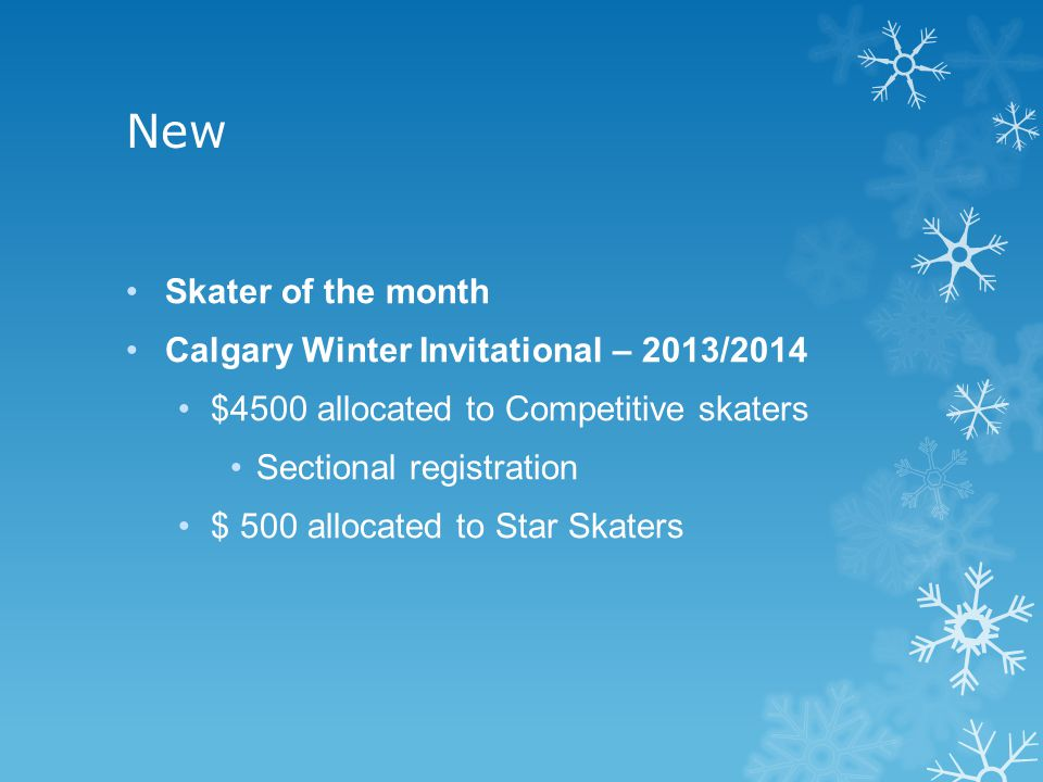 New Skater of the month Calgary Winter Invitational – 2013/2014 $4500 allocated to Competitive skaters Sectional registration $ 500 allocated to Star Skaters