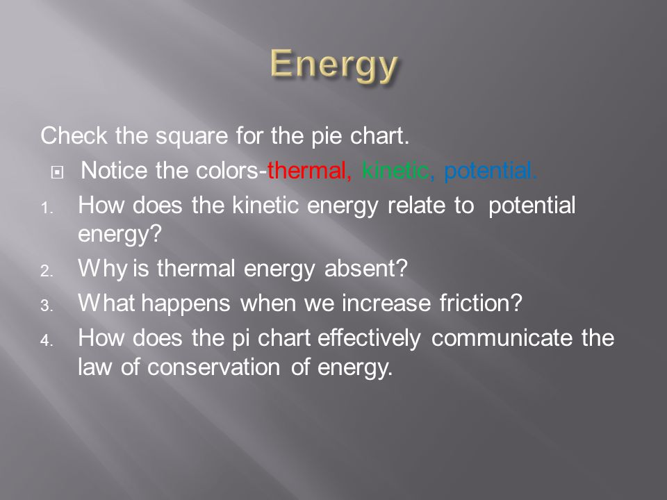 Check the square for the pie chart.  Notice the colors-thermal, kinetic, potential.