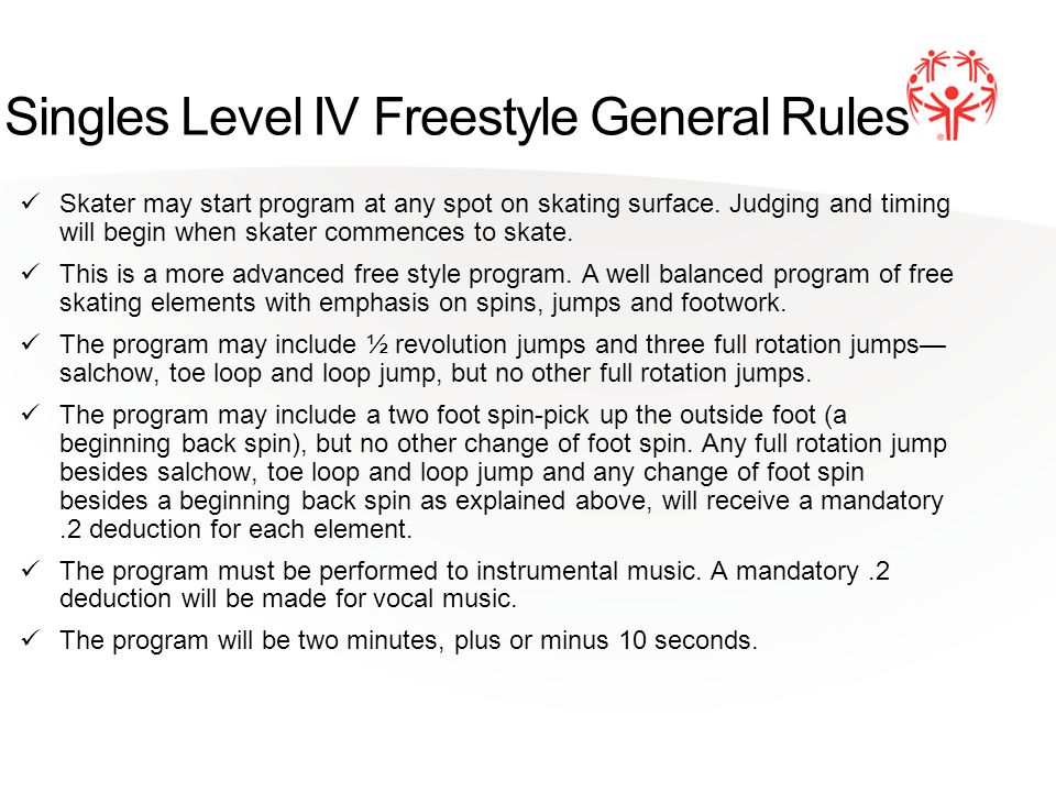 Singles Level IV Freestyle General Rules Skater may start program at any spot on skating surface.