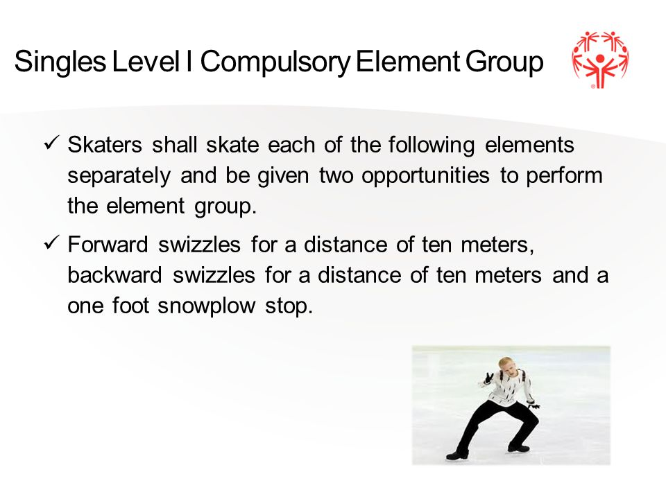 Singles Level I Compulsory Element Group Skaters shall skate each of the following elements separately and be given two opportunities to perform the element group.