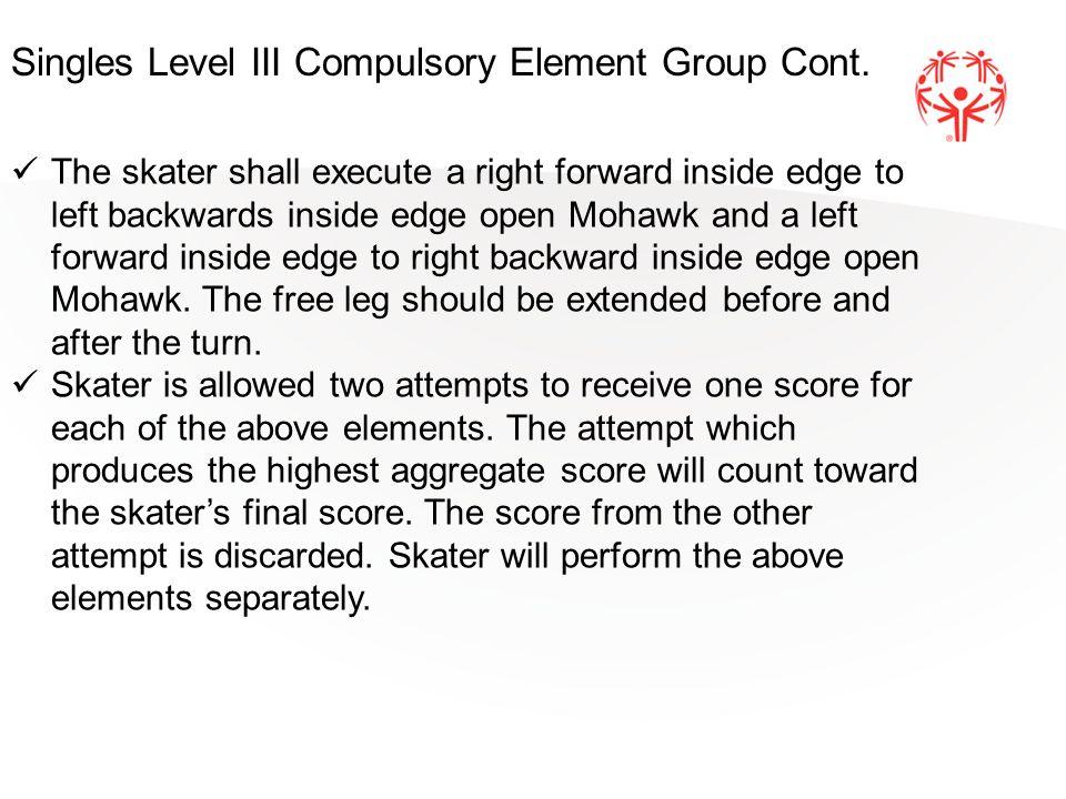 The skater shall execute a right forward inside edge to left backwards inside edge open Mohawk and a left forward inside edge to right backward inside edge open Mohawk.