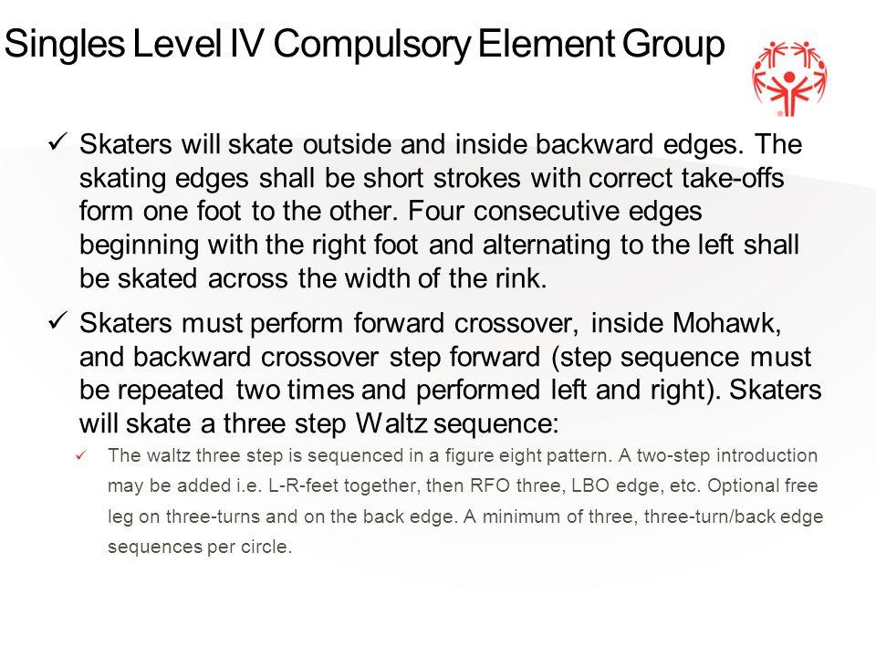 Singles Level IV Compulsory Element Group Skaters will skate outside and inside backward edges.