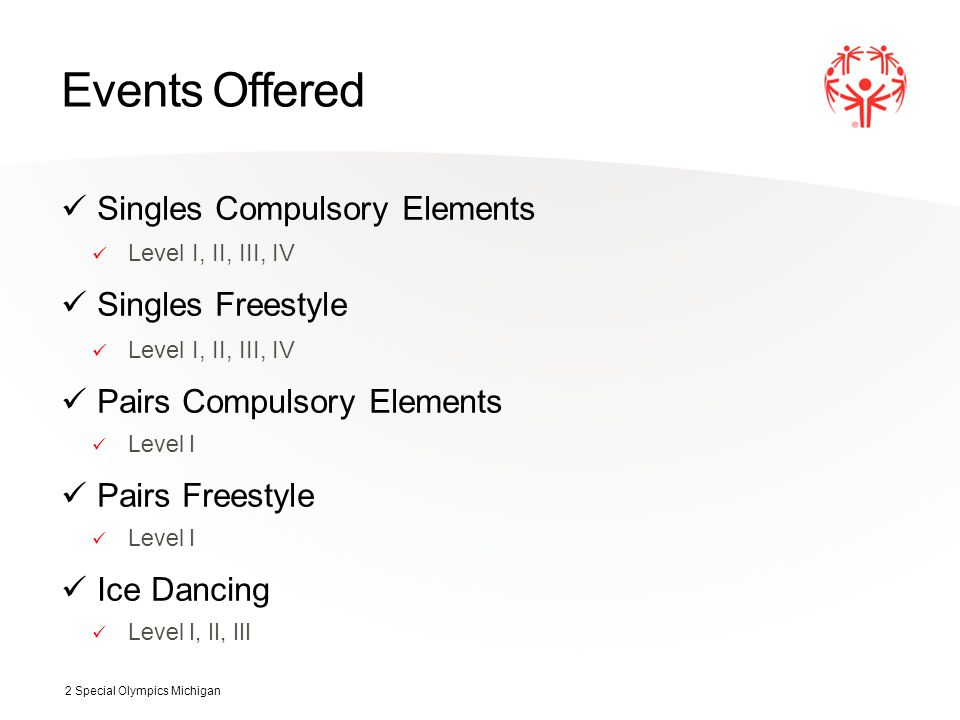 Events Offered Singles Compulsory Elements Level I, II, III, IV Singles Freestyle Level I, II, III, IV Pairs Compulsory Elements Level I Pairs Freestyle Level I Ice Dancing Level I, II, III 2 Special Olympics Michigan